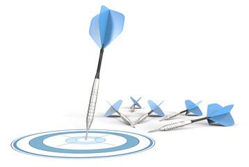 Target Marketing.Blue darts,one hitting target.Rest on ground.