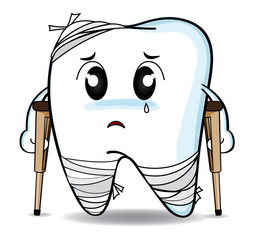 Cute cartoon Decay tooth or is injury