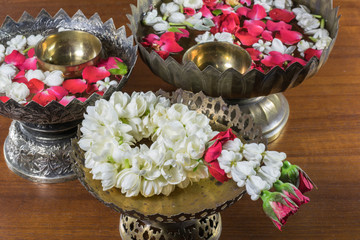 Thai garland Flowers and Water with jasmine and roses corolla