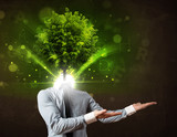 Man with green tree head concept - 80260161