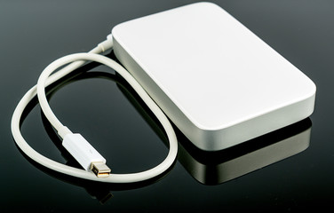 portable hard disc isolated on black