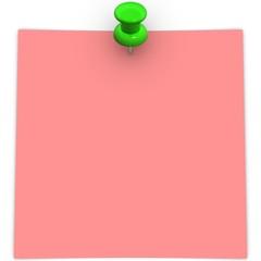 Pink adhesive note with green thumbtack