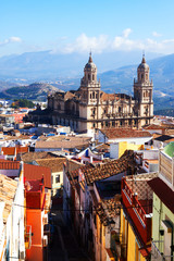 Street view of  city with Renaissance Cathedral. Jaen