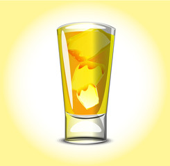 Shot yellow cocktail
