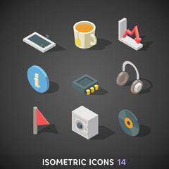 Flat Isometric Icons Set 14