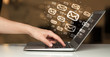 Leinwanddruck Bild - Concept of sending e-mails