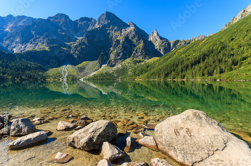 Green water mountain lake Morskie Oko, Tatra Mountains, Poland