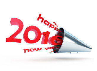 happy new year 2016 megaphone on a white background