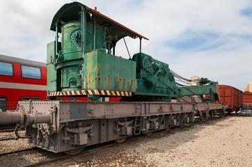 yellow railway locomotive