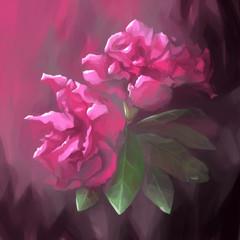 painting still life flower violet