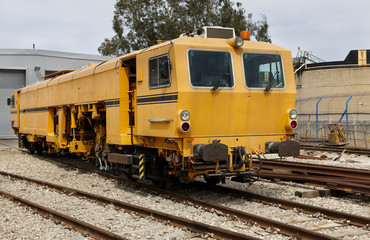 yellow railway locomotive