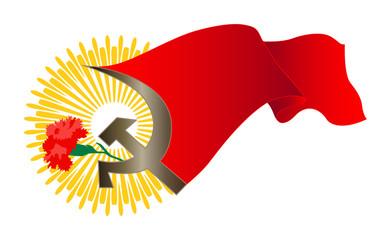 red сarnation and flag