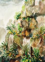 painting stone waterfall