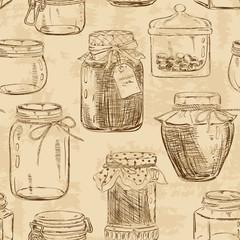 Seamless pattern of mason jars