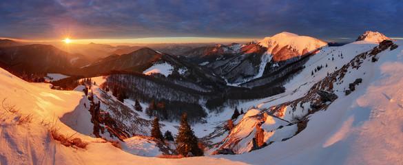 Winter mountains landscape at sunrise, panorama