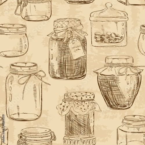Seamless pattern of mason jars - 80261319