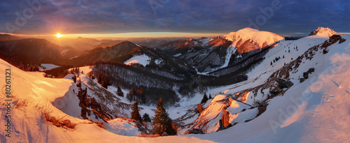 Winter mountains landscape at sunrise, panorama - 80261323