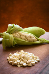 Kernels of white corn called Choclo, Peruvian corn or Cuzco corn