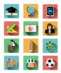 Modern flat education icons set