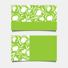 Business green cards with floral pattern. Vector illustration.