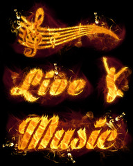 Fire Live Music Text and Stave