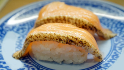seared salmon belly sushi nigiri Japanese food