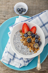 Granola with chia seeds, blueberries, strawberries