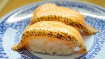 seared salmon belly sushi nigiri