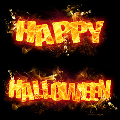 Happy Halloween Fire Text