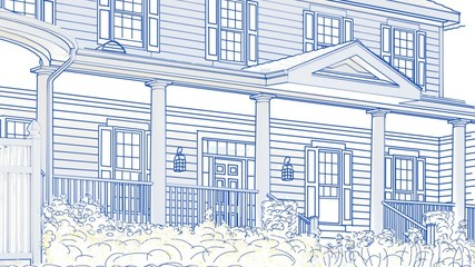 Drawing of House Panning To Reveal Sale Sign and Finished Home