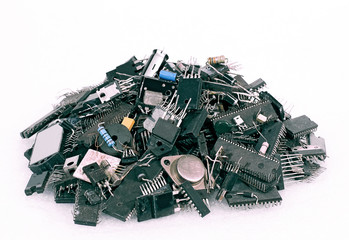 A pile of old radio parts
