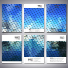 Abstract blue background, triangle design vector. Brochure