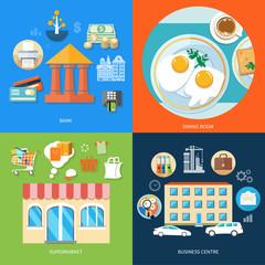 Bank, dining room, supermarket, business centre