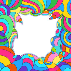 Frame with colorful swirls and waves. Bright rainbow frame.