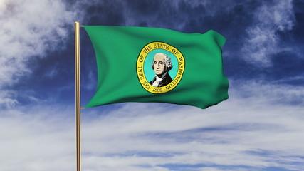 washington flag waving in the wind. Green screen, alpha matte