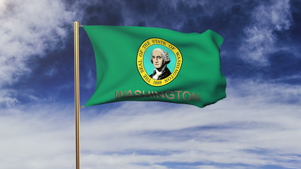 washington flag with title waving in the wind. Looping sun rises