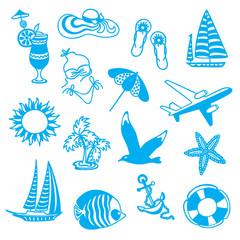 Blue icons symbolizing summer vacation