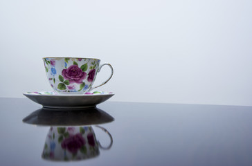 Flower printed cup for tea or coffee