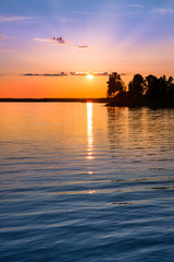 tranquil view of a beautiful sunset in Sweden