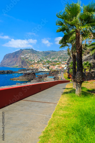 Coastal promenade in Funchal town, Madeira island, Portugal - 80266330