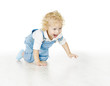Little Child Boy Crawling, Baby Kid Isolated White Background