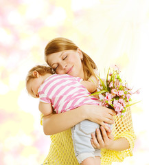 Mother and Baby Family Portrait with Flowers, Little Kid and Mom