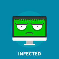 Infected computer - flat illustration