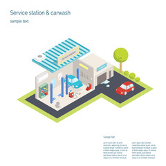 Service station and car washing. 3D isometric illustration