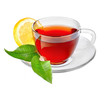 Cup of tea with leaves with lemon. On isolated background.