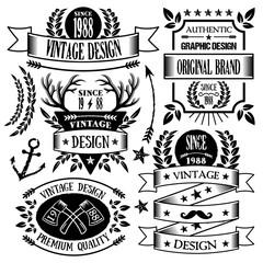 Vintage badges, labels and ribbons set 1