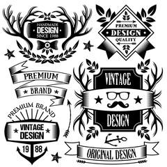 Vintage badges, labels and ribbons set 2