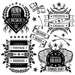 Vintage badges, labels and ribbons set 3