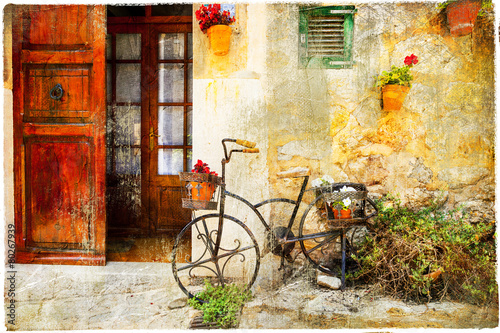 charming street in Valdemossa village with old bike - 80267939