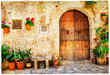 Leinwanddruck Bild - authentic old streets in Valdemossa village, Mallorca